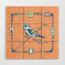 Sparrow Mahjong in Orange Wood Wall Art