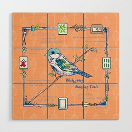 Sparrow Mahjong in Orange Wood Wall Art