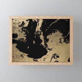 Elegant faux gold foil black chic marble pattern Framed Mini Art Print