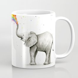 Baby Elephant Spraying Rainbow Coffee Mug