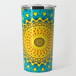 Birds of Paradise Circular Geometric Blended Floral Pattern \\ Yellow Green Blue Teal Color Scheme Travel Mug