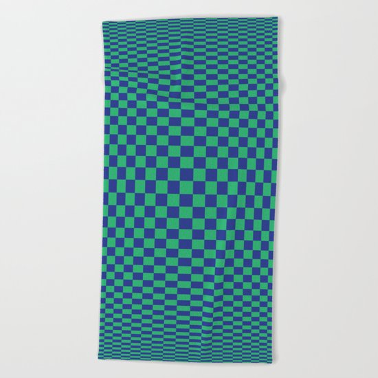 Green and Blue - Optical game Beach Towel