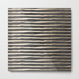 White Gold Sands Thin Stripes on Black Metal Print