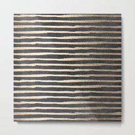 White Gold Sands Thin Stripes on Black Metal Print