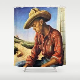 Classical Masterpiece 'The Waterboy' by Thomas Hart Benton Shower Curtain