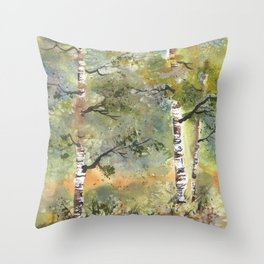 Spring Birch Forest, an original watercolor painting Throw Pillow