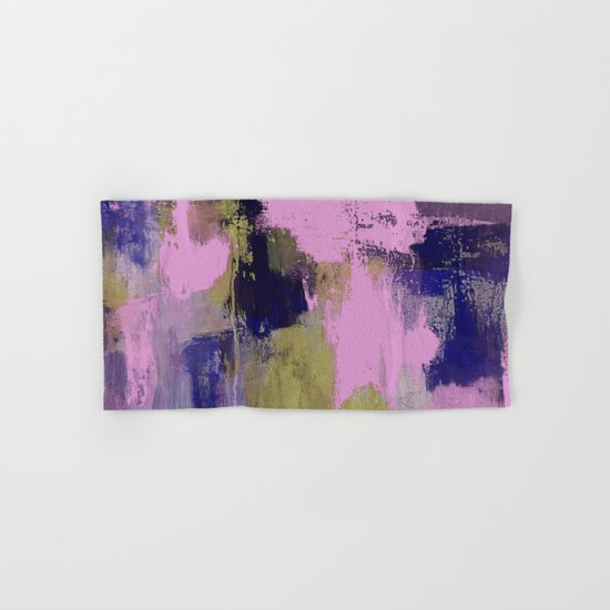 Wild Lilac - Abstract, textured, lilac, purple, blue and yellow oil painted artwork Hand & Bath Towel
