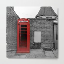 Red British Telephone Box (kiosk) isolated color black and white photograph - photography - photographs Metal Print