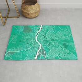 Budapest City Map of Hungary - Watercolor Rug