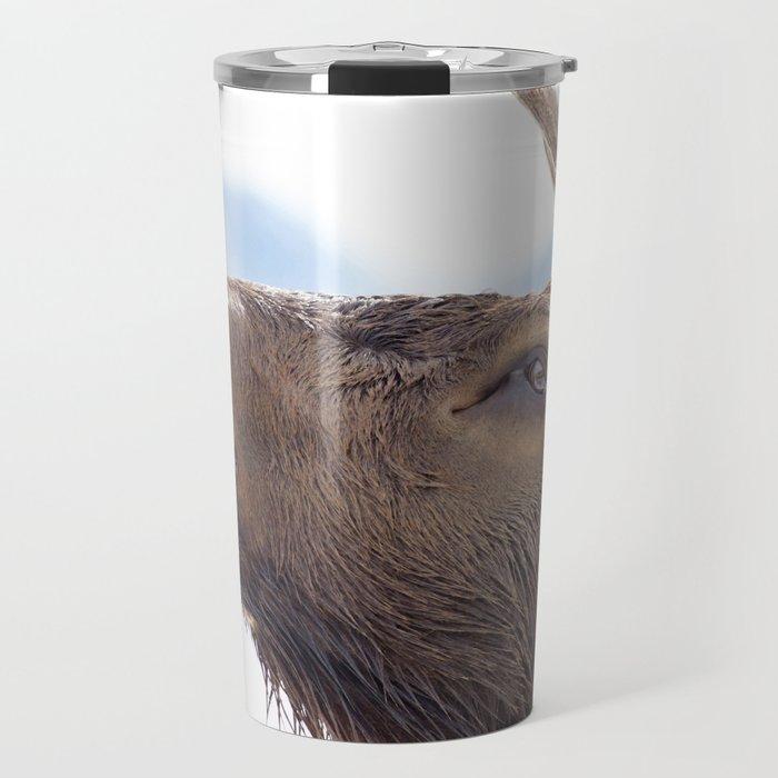 Watercolor Elk Bull 17, Bugle-man Travel Mug