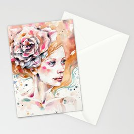 As Delicate As A Wildflower (female portrait) Stationery Cards