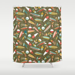 Fishing Lures Green Shower Curtain