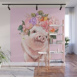 Baby Pig with Flowers Crown Wall Mural