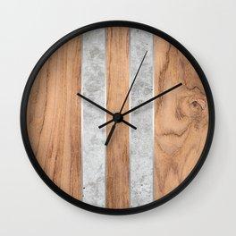 Striped Wood Grain Design - Concrete #347 Wall Clock