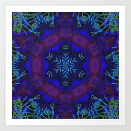 Bioluminescent Tribal Lotus Art Print