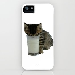 Cute Wild Kitten With A Glass Full of Optimism iPhone Case