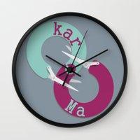 karma Wall Clocks featuring karma  by Daniac Design