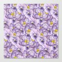 Watercolor floral pattern with violet pansies by katerinamitkova