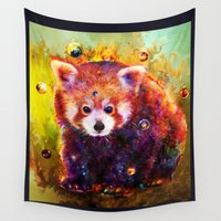 red panda Wall Tapestries featuring red panda by ururuty