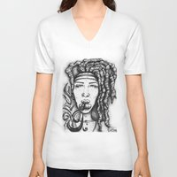 hippy V-neck T-shirts featuring Trippy Hippy by CROME