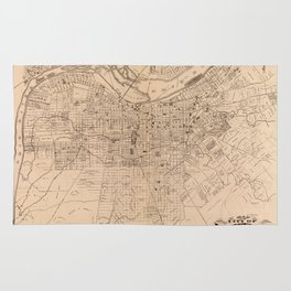 Map Of Louisville 1873 Rug