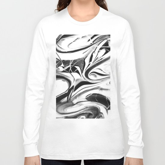 Black and white swirl - Abstract, black and white swirly, paint mix texture Long Sleeve T-shirt