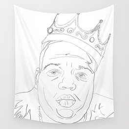 Notorious BIG, portrait, line drawing, Biggy Smalls Wall Tapestry