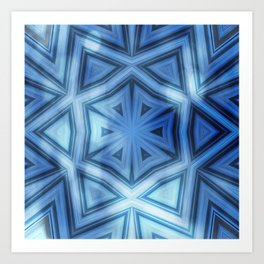 Blue striped kaleidoscope with bokeh Art Print