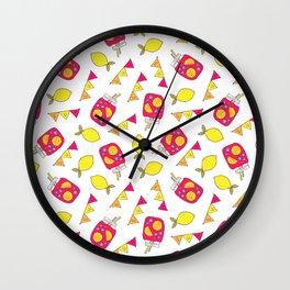 Modern neon pink yellow lemonade summer drink Wall Clock