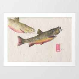 Pair of Brook Trout- Gyotaku Art Print