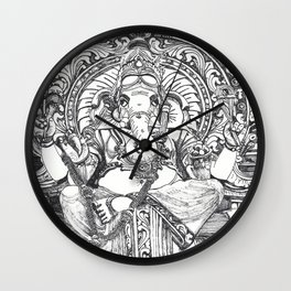 Genish black and white line drawing Wall Clock