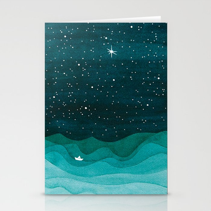 Starry Ocean, teal sailboat watercolor sea waves night Stationery Cards