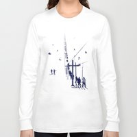 ski Long Sleeve T-shirts featuring Ski lift by Grilldress