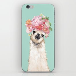 Llama with Flowers Crown #3 iPhone Skin