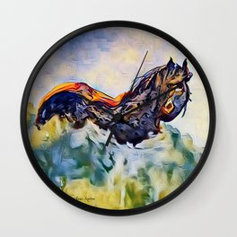 Wild Horse in Sea of Grass watercolor by CheyAnne Sexton Wall Clock