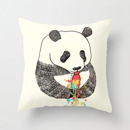 Panda Loves Ice Cream Throw Pillow