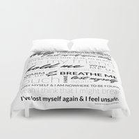 lyrics Duvet Covers featuring Breathe Me Lyrics artwork by Lara J Designs