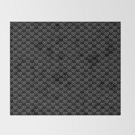 Vintage Hearts on Black Throw Blanket
