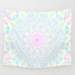 Pink, Yellow, and Cyan Mandala 3 Wall Tapestry