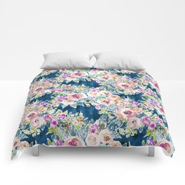 NAVY SO LUSCIOUS Colorful Watercolor Floral Comforters