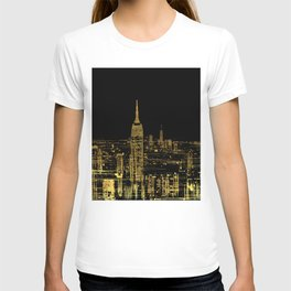 Abstract Gold City  Skyline Design T-shirt