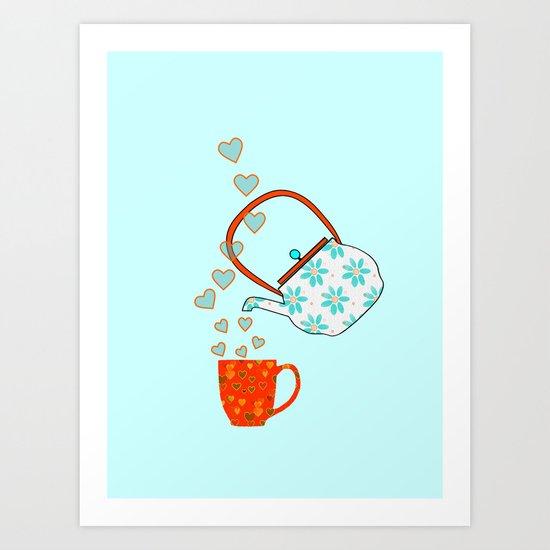 Tea Time Love Art Print