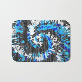 Black White and Blue Tie Dye Bath Mat