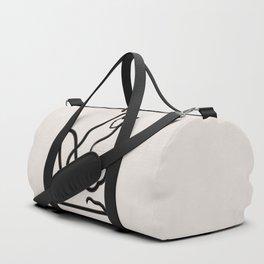 Abstract Female Figure Beige and Black Duffle Bag