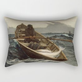 The Fog Warning / Halibut Fishing by Winslow Homer Rectangular Pillow
