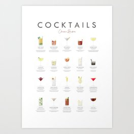 Cocktail Chart - Classic Cocktails Art Print