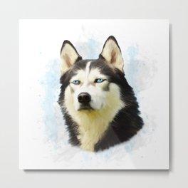 Siberian Husky Dog Water Color Art Painting Metal Print