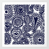 Freehand heart doodle, large scale. Art Print
