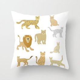 Wild Cats of the World, Animal Lover Gift, Cheetah, Jaguar, Tiger, Cougar, Snow Leopard, Lynx, Throw Pillow