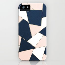 Navy Blue Blush White Gold Geometric Glam #1 #geo #decor #art #society6 iPhone Case
